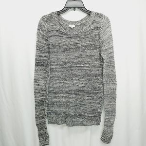Black white open knit crewneck sweater medium